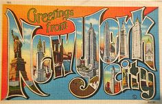 Greetings from New York City postcard by Smaddy, via Flickr