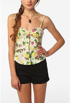 UrbanOutfitters.com > Kimchi Blue Lace-Up Floral Bustier