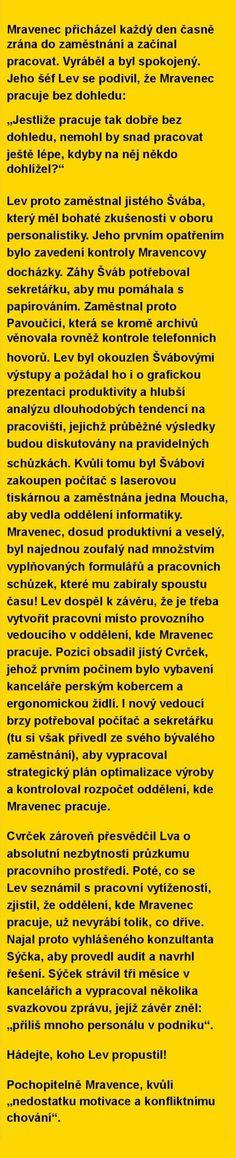 O pilném Mravenci, kterému šéfuje nabušený manažer Lev, a jeho novém kolegovi Švábovi. Pokud pracujete v kanclu, přečtěte si bajku, která právě koluje na netu | Krajské listy.cz