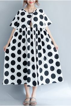 2017 Black Dot Casual Plus Size Loose Long Dress Women Clothes