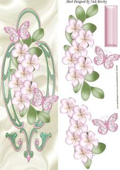 Pretty pink flowers with butterflies on a plaque tall DL on Craftsuprint - Add…