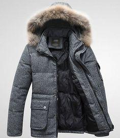 2013NEW Mens Duck Down Jacket Wool Real Fur Detachable Hooded PARKAS Winter Coat | eBay