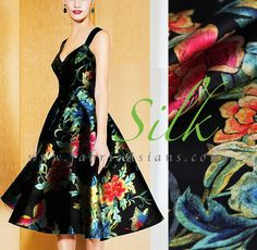 1950 Dress Idea. Black Floral Silk  by fabricAsians