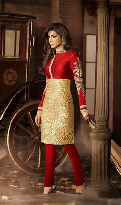 Bride - sangeet this is the full length version of the other PC one...  Priyanka Chopra Gold Color and Red Bhagalpuri Silk Net Churidar Suit