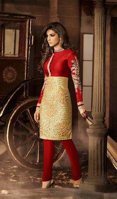 Priyanka Chopra Gold Color and Red Bhagalpuri Silk Net Churidar Suit