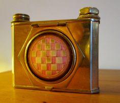 Rare Vintage Houbigant Camera Shaped Compact with Lipstick & Perfume Atomiser