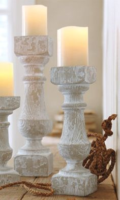 Faux Bois Textured Candlestick Holders