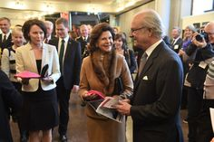Queen Silvia and King Carl Gustaf on a visit to Lappeenranta on Thursday. The visit was the royals' last on their state visit to Finland.