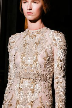 Valentino Fall 2013 Couture Collection Slideshow on Style.com #lace #applique #details