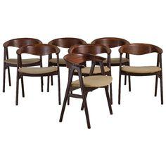 A Superb Set of Eight Danish Rosewood Chairs by Erik Kirkgaard 1950s | 1stdibs.com
