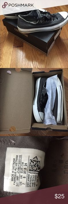 Size 7 Black/Grey Converse Kick back in some studded low cut converse! Goes with every outfit! Converse Shoes Sneakers