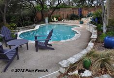 i like this pool with the texas stone border and knee wall. #digging