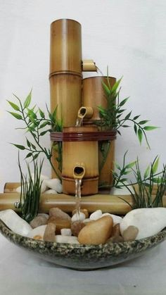 One well-known and timeless home component is the DIY bamboo handicraft. To realize the easy and unique DIY bamboo crafts that you want, one of the first steps Bamboo Fountain, Diy Water Fountain, Indoor Water Fountains, Tabletop Fountain, Fountain Ideas, Waterfall Fountain, Diy Bamboo, Bamboo Art, Bamboo Crafts
