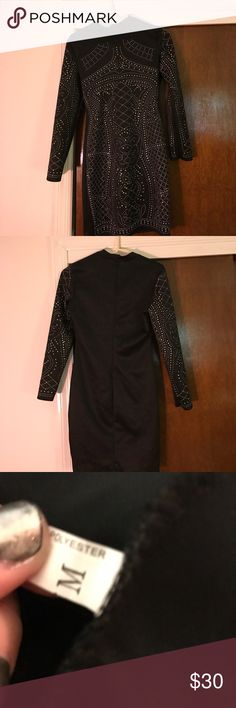 Black Long Sleeve Studded Dress Never worn!! I am 5'7 and it goes a little above my knees. Perfect dress for a sweet 16 or a cocktail party. Dresses Long Sleeve