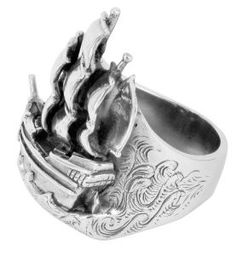 """Ship"" ring by Metal Couture    Only $390.00        Description:    William Griffiths of Metal Couture captures elements of tattoo art, gothic architecture, and the baroque period in his objects of precious metal.  Specification:    Material:      Sterling Silver  Size:      Ring Size S 2.5cm W x 3.5cm L"