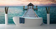 tropical bathroom or beach 3d Wallpaper Designs For Living Room, Wallpaper For Home Wall, 3d Wallpaper Mural, Modern Wallpaper, Designer Wallpaper, Living Room Designs, Wallpaper Ideas, Floor Murals, Wall Murals
