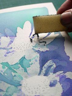 aquarelle et gomme de réserve (drawing gum)