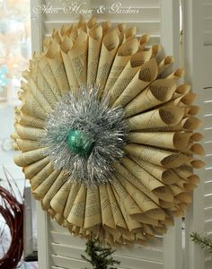 Love the tinsel on the paper cone wreath, makes it so festive! Seen here: Aiken House & Gardens: Time Worn Treasures & Antiques