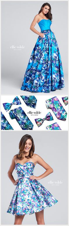 colorful ties for your date to match your Ellie Wilde prom dress!