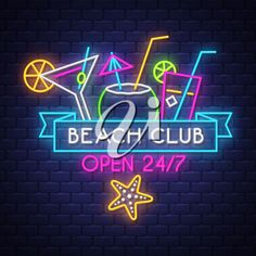 Beach club. Summer holiday banner. Neon banner. Neon sign. Vector. #1891542   iCLIPART.com Summer Clipart, Holiday Banner, Most Beautiful Words, Beach Watercolor, Beach Club, Beach Themes, Clip Art, Neon Signs, Girl Room