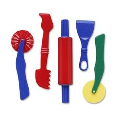 Good set of dough and clay tools, I've seen them in lots of preschools.  These were easier for my daughter to use when she was under two than the traditional pay-doh tools. $7
