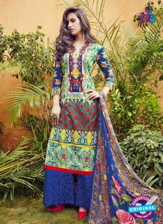 SC 12638 Blue, Green and Red Pure Lawn Digital Print Plazzo Suit