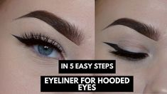 "Awesome ""Cut crease"" detail is available on our site. Read more and you will not be sorry you did. #EyelinerForBeginners Eyeliner For Hooded Eyes, Perfect Winged Eyeliner, Winged Eyeliner Tutorial, Hooded Eye Makeup, How To Apply Eyeliner, Pencil Eyeliner, Eyeliner Waterline, Black Eyeliner, Winged Liner"