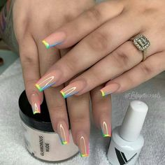 In summer I always like to wear a lot of color on my nails. Not only on my nails but my clothing too haha. So these super cool nails are perfect for upcoming spring and summer. They are colorful but… Aycrlic Nails, Swag Nails, Manicure, Coffin Nails, Nail Nail, Best Acrylic Nails, Acrylic Nail Designs, Fake Nail Designs, Fake Nail Ideas