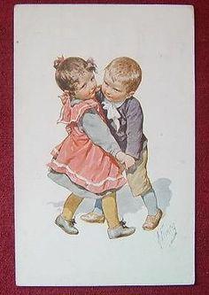 ARTIST SIGNED POSTCARD / KARL FEIERTAG / LITTLE DANCERS 2./ 1913