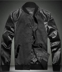 Black Plus Size Men's Leather Combo Baseball Jacket    Featuring black cotton textile main with long length leather sleeves, a rib insert band collar, press stud closure to front,twin jet pockets to the lower front,plus size available, in a fashion style.  Also available in khaki color.  50% cotton, 30% nylon, 20% leather.  Imported.