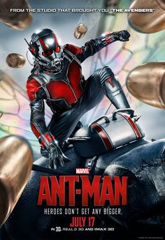 Heroes don't get any bigger! Marvel has unveiled a new poster for Ant-Man, directed by Peyton Reed, starring Paul Rudd and Michael Douglas. Poster Marvel, Marvel Movie Posters, New Movie Posters, Ant Man Poster, New Poster, Paul Rudd, Ant Man Full Movie, New Movies, Good Movies