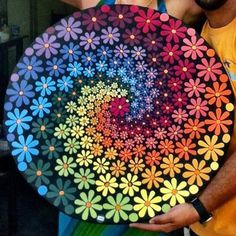 Mosaic Daisy Tray You are in the right place about Mandala Painting red Here we offer you the most b Dot Art Painting, Rock Painting Designs, Mandala Painting, Pebble Painting, Pottery Painting, Painting Patterns, Pebble Art, Mandala Art Lesson, Painting Wallpaper