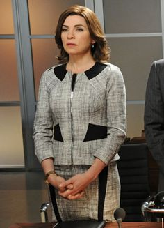 Office Outfits from TV's Working Women -- 7. ALICIA FLORRICK, THE GOOD WIFE  Tweed is a fabric that is capable of smartening up just about anything. Matching separates in this classic textile are essential in your wardrobe.