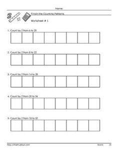 Counting by 5 worksheets. Worksheets to learn to count by 5 Free Math Worksheets, Math Resources, Math Activities, English Resources, 1st Grade Math, Kindergarten Math, Elementary Math, Grade 2, Counting By 10
