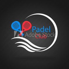 Logo padel. Logo in blue, red and white, on dark background.