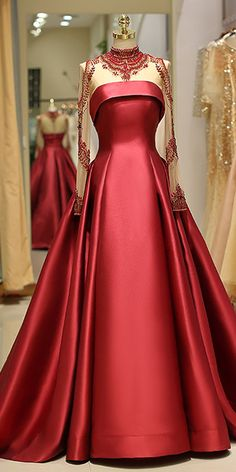 A-line Evening Dress With Beading Brilliant Satin High Collar Floor-length Prom Dresses - Evening Dresses A Line Evening Dress, Evening Dresses, Prom Dresses, Formal Dresses, Bridesmaid Dresses, Elegant Dresses, Pretty Dresses, Amazing Dresses, Beautiful Gowns
