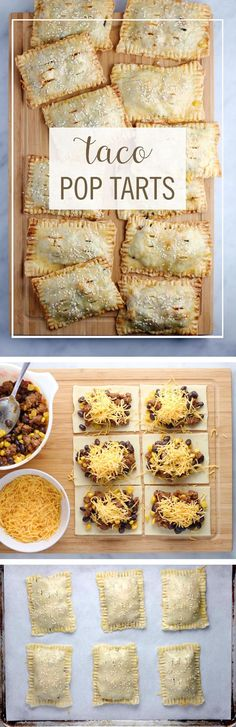 "Taco Pop Tarts Recipe via Babble ""These Taco Pop Tarts are a perfect way to turn your favorite breakfast pastry into dinner. Take your typical taco ingredients and turn them into this delicious on-the (Breakfast Pastries) Mexican Dishes, Mexican Food Recipes, New Recipes, Cooking Recipes, Favorite Recipes, Kid Cooking, Jello Recipes, Whole30 Recipes, Vegetarian Recipes"