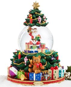 Christopher Radko Splendid Santa's Tree Snow Globe - Holiday Lane - For The Home - Macy's Christmas Decorations For The Home, Christmas Themes, All Holidays, Christmas Holidays, Merry Christmas, Christmas Snow Globes, Christmas Ornaments, Santa Snow Globe, Christopher Radko Ornaments