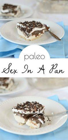 Paleo Sex in a Pan recipe made with homemade coconut flour crust, creamy vanilla and chocolate layers, and shaved chocolate.