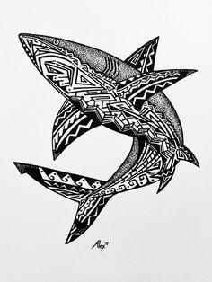 Tribal Shark Tattoos, Tribal Tiger, Tattoo Tribal, Bear Tattoos, Body Art Tattoos, Guerrero Tattoo, Hai Tattoo, Alex Williams, Shark Drawing