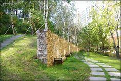 자작나무 아파트 - Google 검색 Fence Design, Wall Design, Landscape Architecture, Landscape Design, Landscape Materials, Stone Walls, Concrete Wall, Parks, Construction