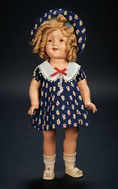 """American Composition Doll of Shirley Temple by Ideal in Rare Variation of the """"Loop"""" Dress $500+"""