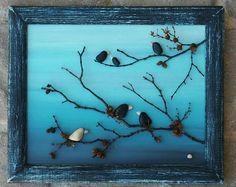 "Pebble Art, Rock Art, Pebble Art Birds, Rock Art Birds, be unique, stand out, friendship gift, 8.5x11 ""open"" frame (FREE SHIPPING)"