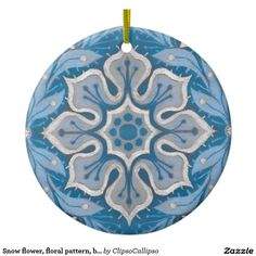 Snow flower, floral pattern, blue & gray snowflake ceramic ornament by ClipsoCallipso