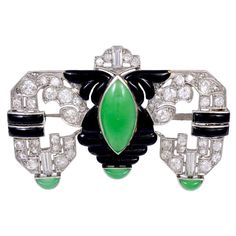 ART DECO Diamond Jade and Enamel Brooch 1930s