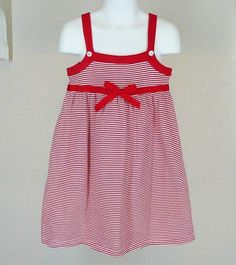 Lucy Sykes Red Stripe Strappy Dress Sz 4 Cotton Knit Summer #LucySykes #Everyday