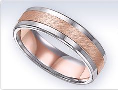 Men's two tone white and rose gold band is perfect for your 2015 wedding!