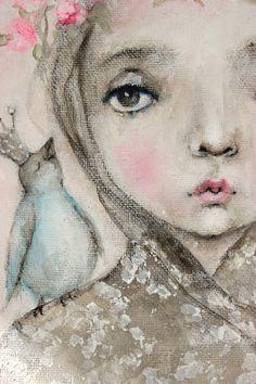 original child portrait blue bird princess painting   by fadedwest,