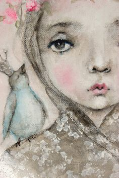 original child portrait blue bird princess painting   by fadedwest,