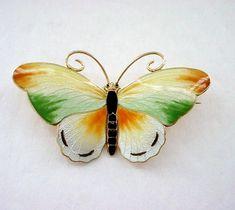 Large Bernard Meldahl Enamel on Sterling Silver Butterfly Pin Brooch - Pastel Shades